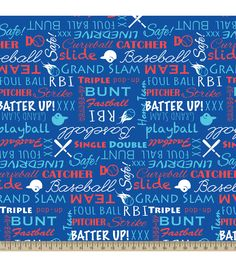 Blizzard Fleece Fabric-Baseball Words