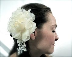 Ivory Bridal Hairpiece Lace& Rose  OOAK by Marcellefinery on Etsy, $42.00