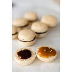 Macaron Recipe Pumpkin Pie Spice Macarons with Caramel, Dark Chocolate... ❤ liked on Polyvore featuring food, food and drink and macaron