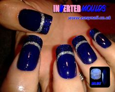 Stunning BLUE Inverted Moulds by Cheryl Hammond. Inverted Moulds available from www.easynail.co.uk Powder available from www.thenailartist.co.uk