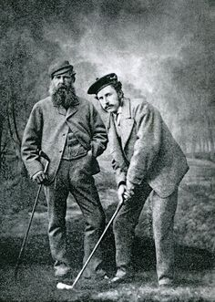 A photo of Tom Morris Sr. and Tom Morris Jr. The greatest father son combination in the history of golf,  8 Open Championships between the 2 of them.