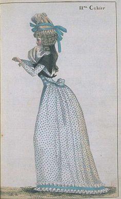 Journal de la Mode et du Gout, June 1790. This is so adorable! I love her spotty…