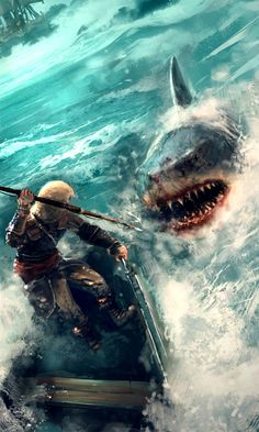 Assassin's Creed, brilliant concept here as the shark leaps from the water attacking edward.