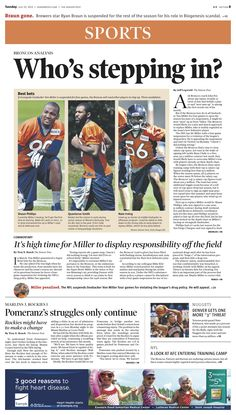 Tuesday, July 23, 2013 Denver Post sports cover.