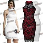 Women Sexy Contrast Lace Backless Prom Wedding Formal Evening Dresses US 0-14