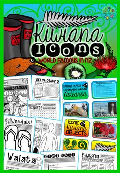 Kiwiana Objects, Icons & Landmarks {World Famous in New Zealand! Learning Activities, Kids Learning, Activities For Kids, School Resources, Teaching Resources, Classroom Resources, Harmony Day, Flag Template, Silver Fern