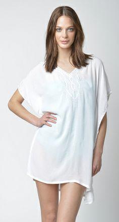 Lisa Curran Swim - Estella Caftan in White/Silver