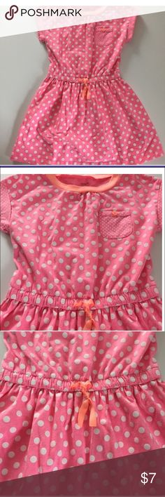 Carter's Dress Pink and white polka dot dress. Orange button on pocket. Orange tie in front of dress. Perfect for summer Carter's Dresses Casual
