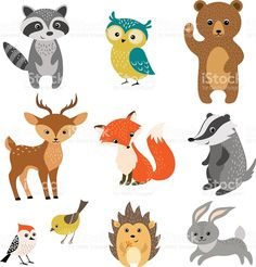 Cute forest animals royalty-free stock vector art