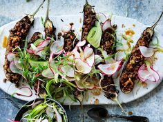 Nourish yourself with this wholesome and delicious walnut and miso filled eggplant with radish salad. A perfectly balanced vegetarian dish full of goodness.