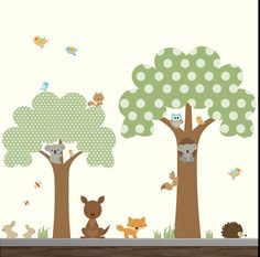 Nursery Wall Decals wall sticker- Tree Decal Forest with Animals Children Wall Decal Art