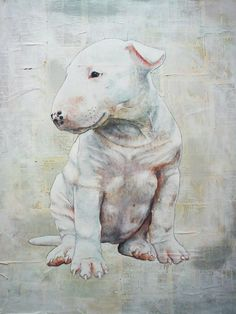 lovely #Bullie #Puppy by Tom Buckley #English #Bull #Terrier #Dog #Terriers #Creative #Dogs #DogArt #Drawing