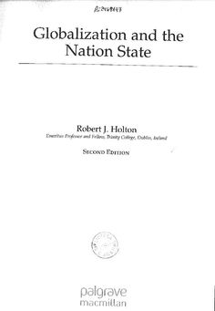 Holton, Robert J. Globalization and the nation state. 2nd ed. Palgrave Macmillan, 2011