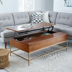 Storage Coffee Table - Walnut/Antique Brass #west elm