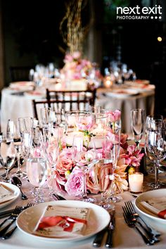 Pink-Centerpiece-with-Candles