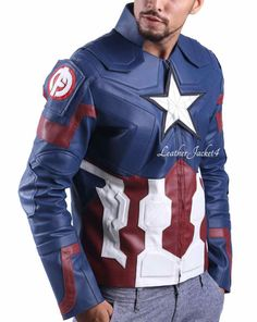 AGE of Ultron CAPITAN AMERICA Chris Evans Avengers Costume Giacca in Pelle