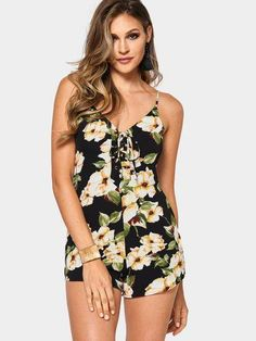 Sexy V-neck Random Floral Print Lace-up Playsuit New Street Style d31a293ef