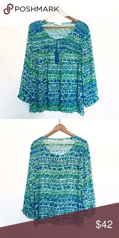 Vince Camuto Blue and Green Blouse Very comfy blouse - loose fitting. Perfect for the summer. Great paired with shorts or pants. In great condition. Two by Vince Camuto Tops Blouses