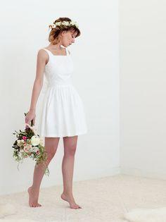 Evie Dress in Cotton  Simple Short Wedding Dress by LankkaBridal