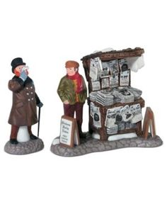 Information Online Department 56 Dickens' Village London Newspaper Stand Accessory Figurine (Set of Christmas Village Accessories, Christmas Village Display, Christmas Villages, Christmas Decor, Christmas Clay, Christmas Town, Christmas Scenes, Christmas Carol, Holiday Decorations