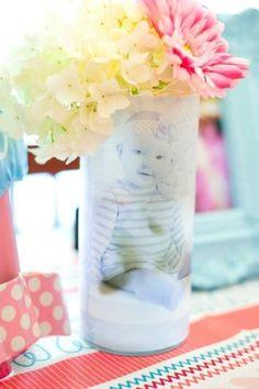 Craft idea. photo printed on vellum, wrapped around Dollar Tree vase
