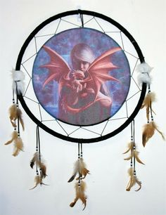 Sorceress Holding Baby Red Dragon Dream Catcher Fantasy Art Wall Decor New Medieval Gothic, Arts And Crafts Furniture, Holding Baby, Red Dragon, Decor Ideas, Gift Ideas, Wall Art Decor, Gifts For Kids, Dream Catcher