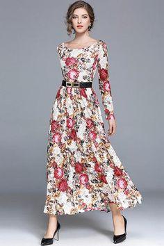 Elegant Slash Neck Long Sleeve Floral Print Belted A-Line Dress a1a8b3f1e9