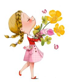 Little Girl holding flowers cartoon art Art And Illustration, Illustration Mignonne, Girl Cartoon, Cute Cartoon, Cartoon Art, Art Mignon, Cute Drawings, Cute Art, Illustrators