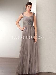 2014 New Style Sheath/Column V-neck Floor-length Tulle Evening Dresses #USALF342 - Mother of the Bride Dresses