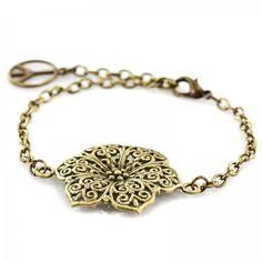 Armband aus Messing mit Blüte und Peace