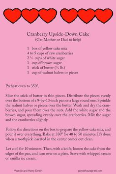 Cranberry Upside Down Cake from Cranberry Valentine by Wende and Harry Devlin.