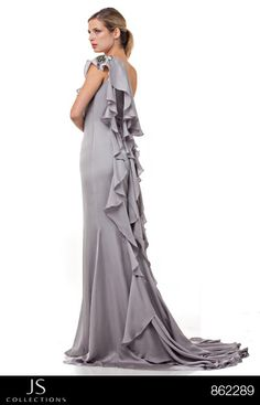 Aqua brill asymmetric cape side maxi dress