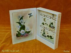 Decorative key holder box for wall hand-painted with acrylic upon the handmade craquelure and varnished with gloss. Sea Flowers, Mixed Media Painting, Decorative Objects, Painting & Drawing, Framed Art, Art Gallery, Hand Painted, Drawings, Wall