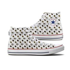 These Coffee Emoji Converse High Top Chucks are made to order especially for you and feature the iconic coffee emoji and coffee beans scattered on both the inside and outside panels of each white shoe