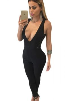 Christmas PEGGYNCO Womens Black Side Lace Up Plunging Jumpsuit Size L -- Details can be found by clicking on the image. (This is an affiliate link) Bodycon Jumpsuit, Bodysuit Fashion, Lingerie Dress, European Fashion, European Style, Jumpsuits For Women, Fashion Jumpsuits, Women's Summer Fashion, Sexy Outfits