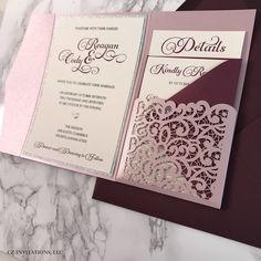 Rose pocket wedding invitation