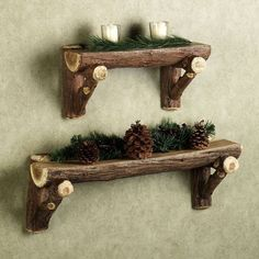 Give your lodge extra woodland feel with this charming rustic timber log wall shelf.