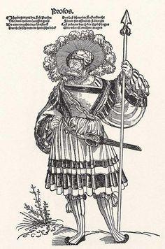 Title: Profos              Tags: Waffenrock, Katzbalger, Spear, Kuhmaul shoes, Hat, Küse, Landsknecht, Neckchain              Date: ca. 1535                        Artist: Erhard Schoen              Provenance: Germany              Collection: Grafische Sammlung Albertina