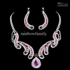 Wholesale Fashion Bride jewelry sets earrings and necklace bride jewelry sets Beautiful wedding jewelry, Free shipping, $13.08-15.93/Set | DHgate