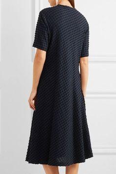 Jil Sander - Stretch Cotton And Seersucker Midi Dress - Navy - FR42