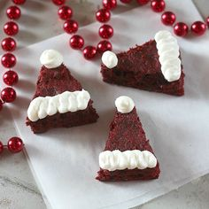 Red Velvet Santa Hat Brownies 1 Duncan Hines box Red Velvet cake mix cup butter, after melted 1 egg cup water 1 cup semi-sweet chocolate chips 2 cups walnuts, chopped (optional) Marble Frosting: 8 oz. Christmas Desserts Easy, Christmas Eve Dinner, Holiday Treats, Christmas Treats, Holiday Recipes, Christmas Recipes, Christmas Hamper, Holiday Foods, Christmas Goodies