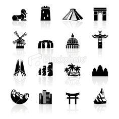 Black Symbols - Travel Monuments Royalty Free Stock Vector Art Illustration