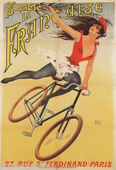 Francaise Girl Bicycle Cycles Paris French Repro Poster | eBay