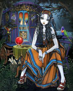 Myka Jelina Art Print Signed Remember Me Bohemian Rainbow Gypsy Fairy #GothicFantasy