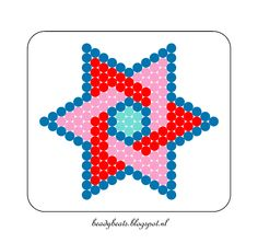 Beady Beads - Star 4b. Perler / Hama / Fusion / Melty / Pyssla Beads. Free Pattern Card! Visit my blog for more free patterns.