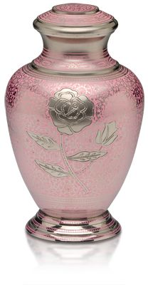 Cremation urn for ashes with pink rose