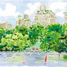 watercolor of Central Park by Caitlin McGauley