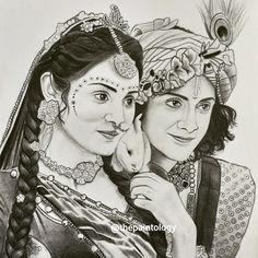 Radha Krishna Sketch, Krishna Drawing, Krishna Art, Krishna Names, Girl Drawing Sketches, Girly Drawings, Art Drawings Sketches Simple, Lord Shiva Painting, Krishna Painting