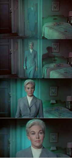 Madeleine Elster comes from the dead. The first two snapshots are bathed in a light blue color suggesting a ghost like presence. Coming closer to Scottie, she's back into the real world. Kim Novak =in Vertigo 1958
