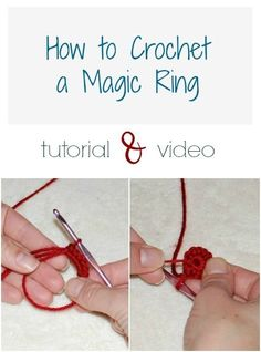 How to crochet a magic ring. This is the start for crocheting in the round with no hole in the center. by rosanne